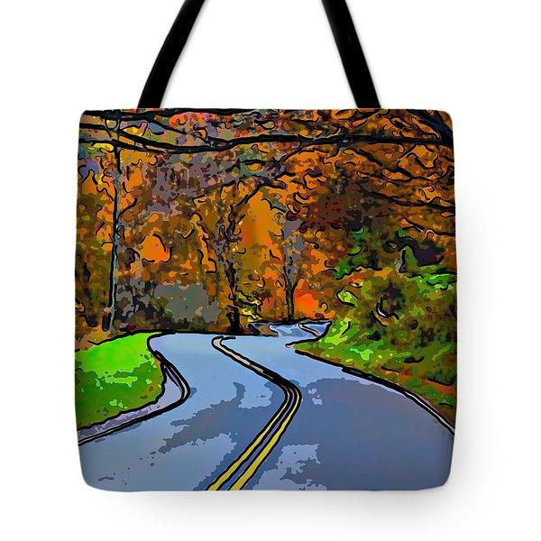 West Virginia Curves 2 Line Art Tote Bag by Steve Harrington