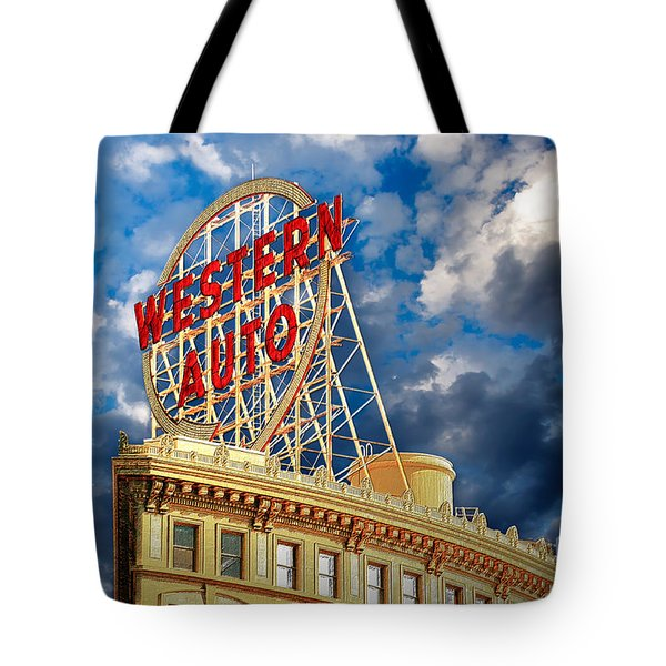 Western Auto Sign Downtown Kansas City Tote Bag