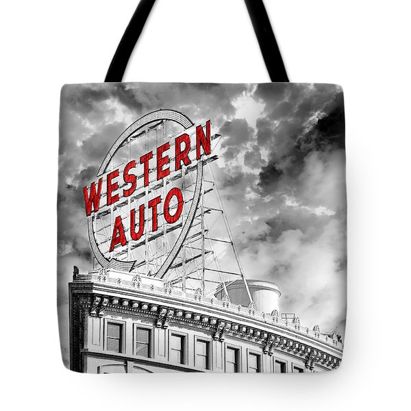 Western Auto Sign Downtown Kansas City B W Tote Bag