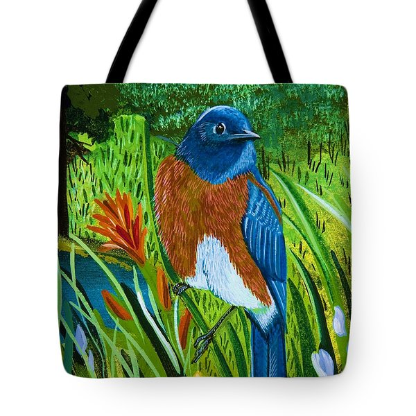 Western Bluebird Tote Bag by Jennifer Lake