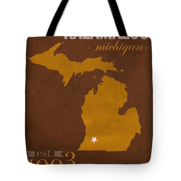 Western Michigan University Broncos Kalamazoo Mi College Town State Map Poster Series No 126 Tote Bag