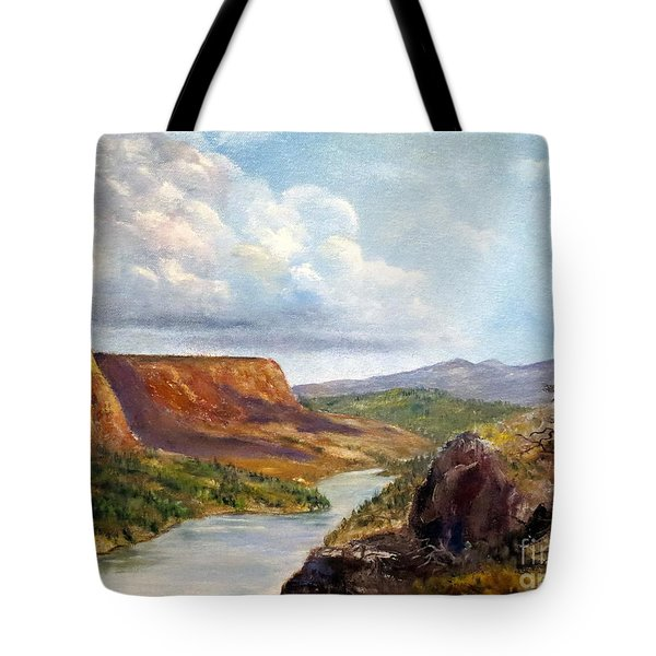 Western River Canyon Tote Bag by Lee Piper