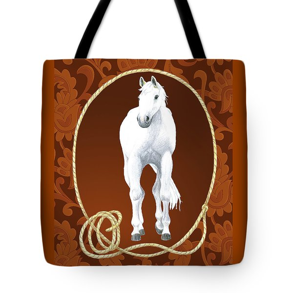 Western Roundup Standing Horse Tote Bag