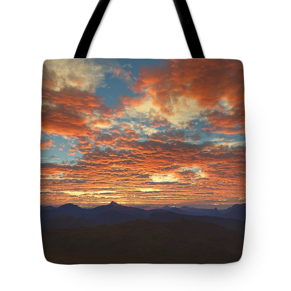 Tote Bag featuring the digital art Western Sunset by Mark Greenberg