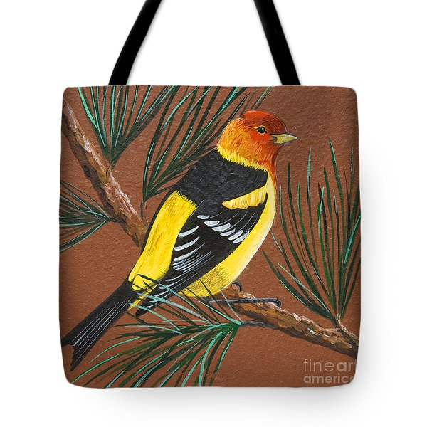 Tote Bag featuring the painting Western Tanager by Jennifer Lake