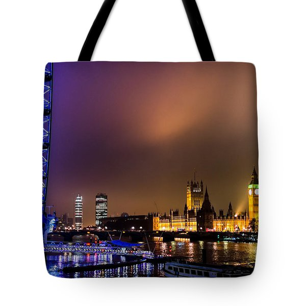 Westminster And Eye Night Glow Tote Bag by Matt Malloy