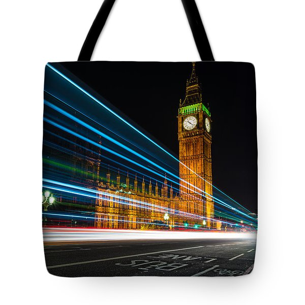 Westminster Light Trails Tote Bag by Matt Malloy