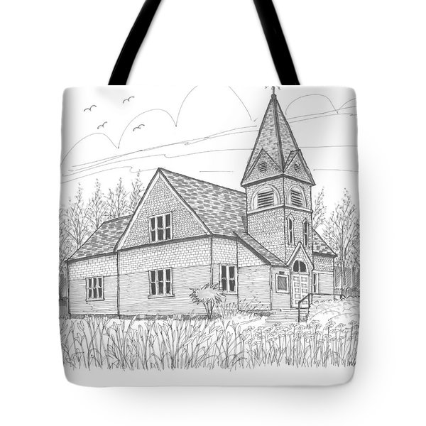 Tote Bag featuring the drawing Westmore Community Church by Richard Wambach