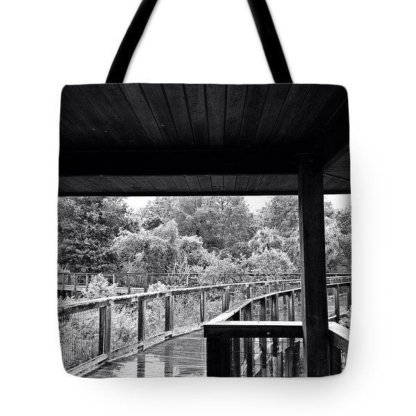 Boardwalk In Black And White 4 Tote Bag by K Simmons Luna