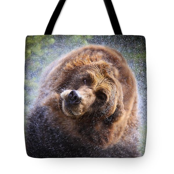 Tote Bag featuring the photograph Wet Griz by Steve McKinzie