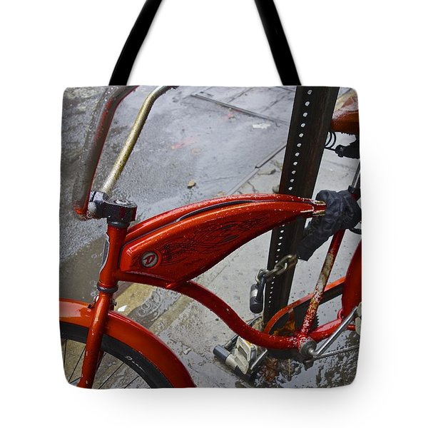 Wet Orange Bike   Nyc Tote Bag