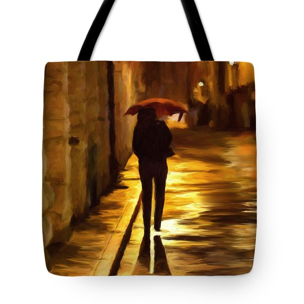 Wet Rainy Night Tote Bag