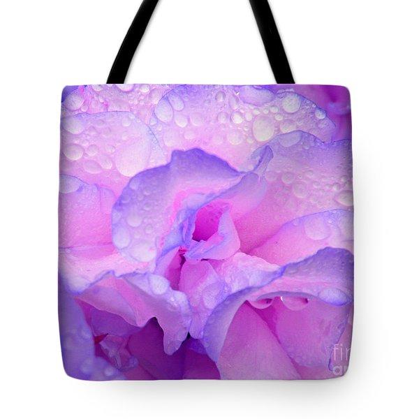 Wet Rose In Pink And Violet Tote Bag