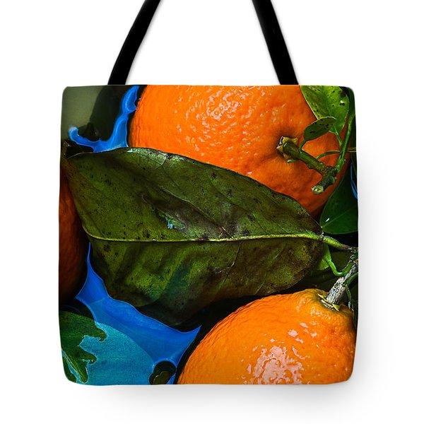 Wet Tangerines Tote Bag by Alexander Senin