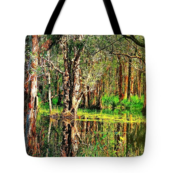 Tote Bag featuring the photograph Wetland Reflections by Wallaroo Images