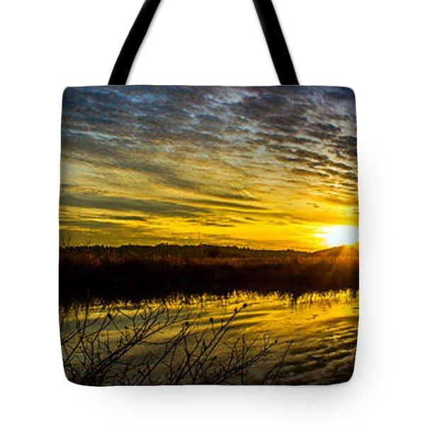 Wetlands Sunset Tote Bag by Michael Cross