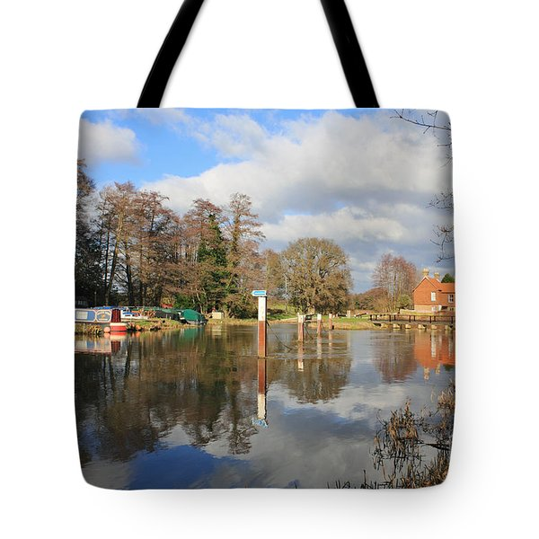 Wey Canal Surrey England Uk Tote Bag
