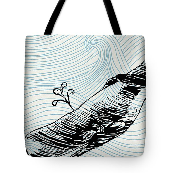 Whale On Wave Paper Tote Bag