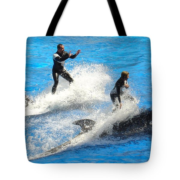 Whale Racing Tote Bag
