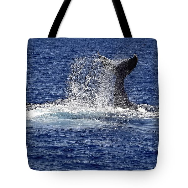 Tote Bag featuring the photograph Whale Tale Splash by Penny Lisowski