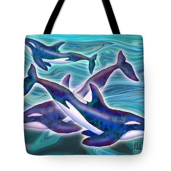 Tote Bag featuring the mixed media Whale Whimsey by Teresa Ascone