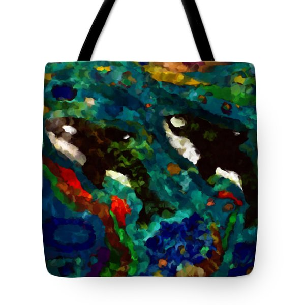 Whales At Sea - Orcas - Abstract Ink Painting Tote Bag