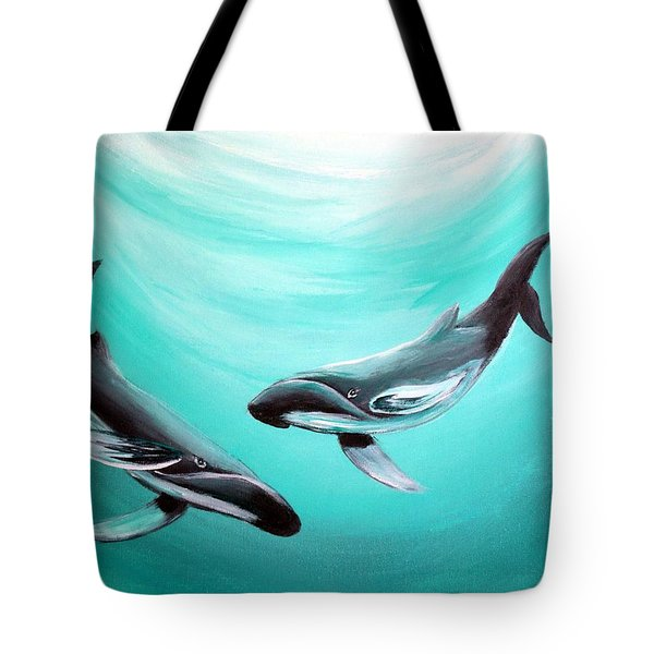 Tote Bag featuring the painting Whales by Bernadette Krupa