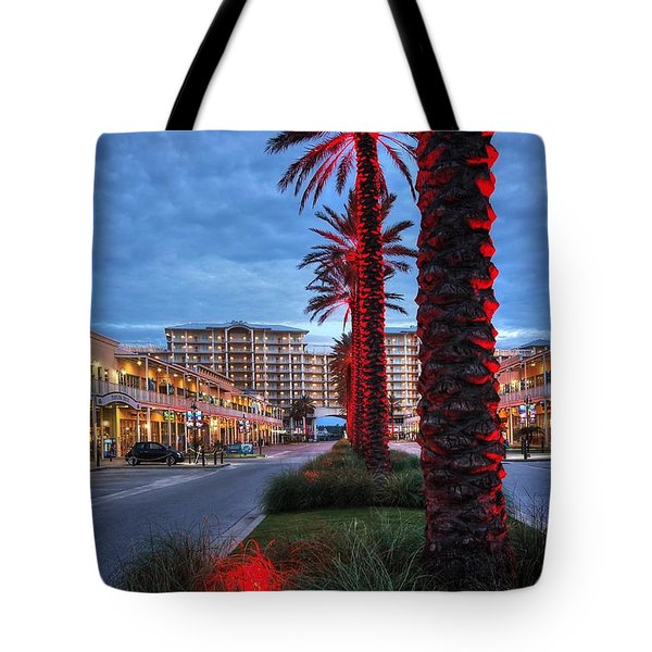 Tote Bag featuring the digital art Wharf Red Lighted Trees by Michael Thomas
