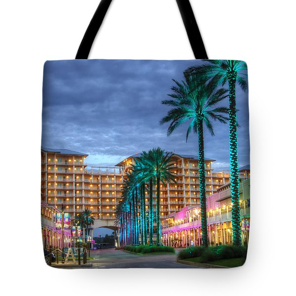 Tote Bag featuring the digital art Wharf Turquoise Lighted  by Michael Thomas