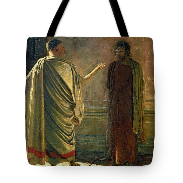 What Is Truth    Christ And Pilate Tote Bag by Nikolai Nikolaevich Ge