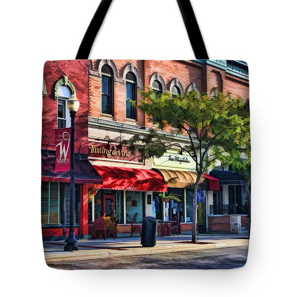 Wheaton Front Street Store Fronts Tote Bag by Christopher Arndt