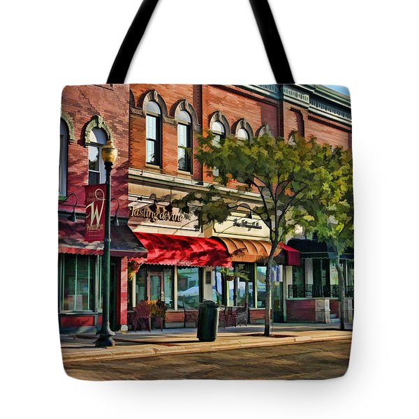 Wheaton Front Street Stores Tote Bag by Christopher Arndt