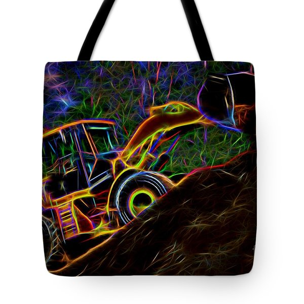 Wheel Loader Moving Dirt - Neon Tote Bag