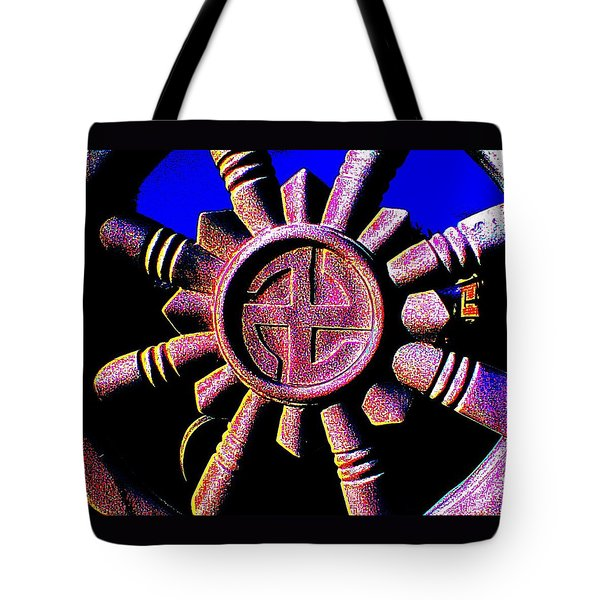 Tote Bag featuring the photograph Buddhist Dharma Wheel 1 by Peter Gumaer Ogden
