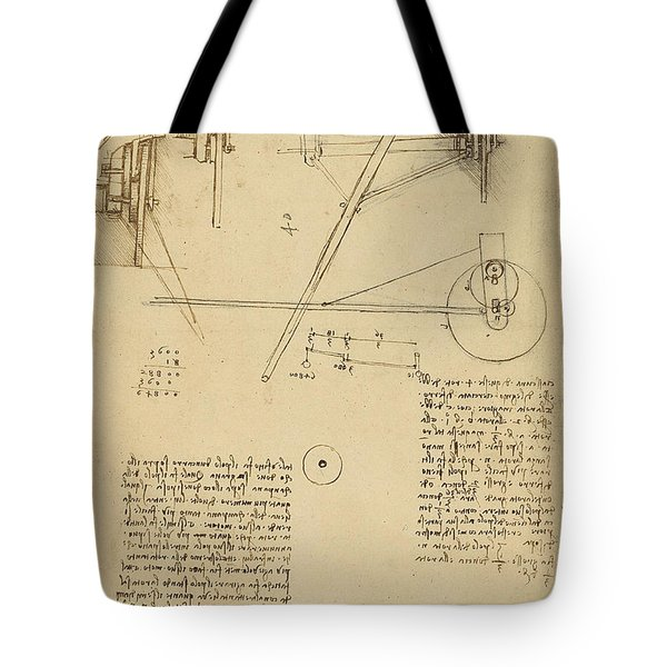 Wheels And Pins System Conceived For Making Smooth Motion Of Carts From Atlantic Codex Tote Bag by Leonardo Da Vinci