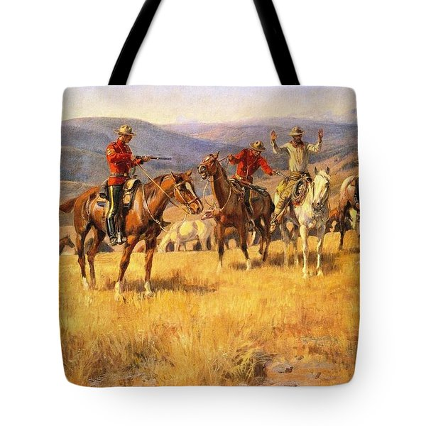 When Law Dulls The Edge Of Chance Tote Bag by Charles Russell