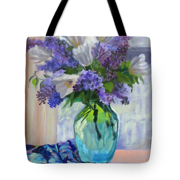 When Lilacs Bloomed Tote Bag by Bonnie Mason