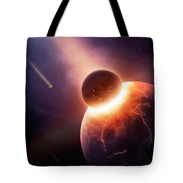 When Planets Collide Tote Bag