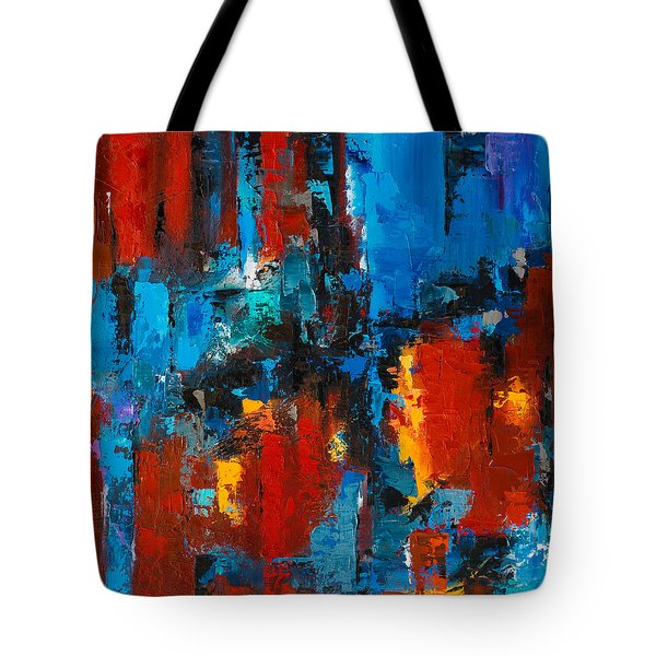 When Red And Blue Meet Tote Bag by Elise Palmigiani