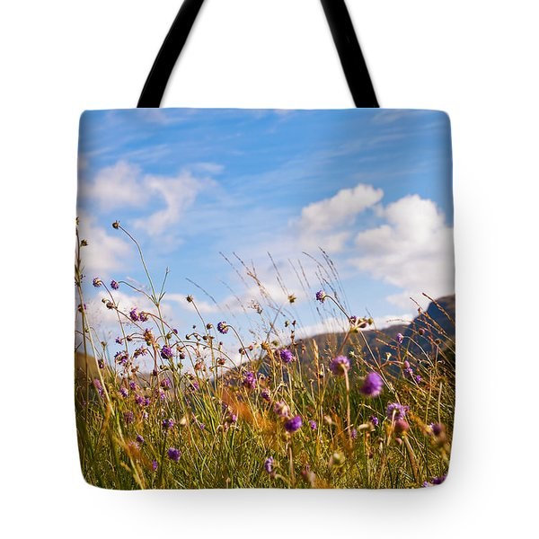 When The Sun Is Shining Everything Around Smiling Towards. Scotland Tote Bag