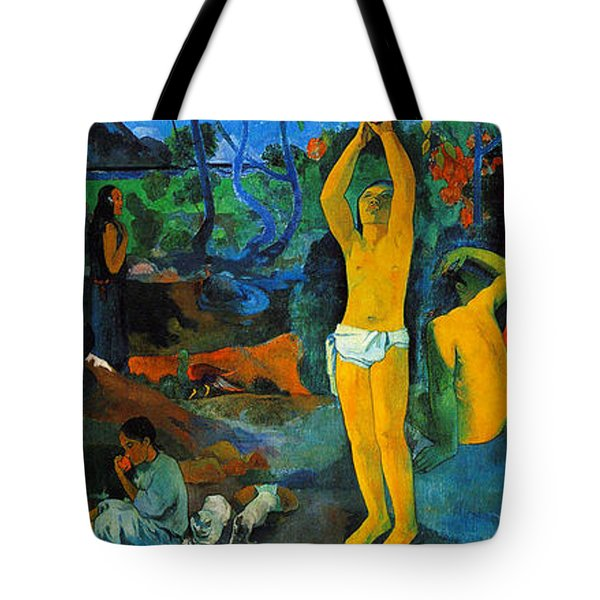 Tote Bag featuring the painting Where Do We Come From. What Are We Doing. Where Are We Going by Paul Gauguin