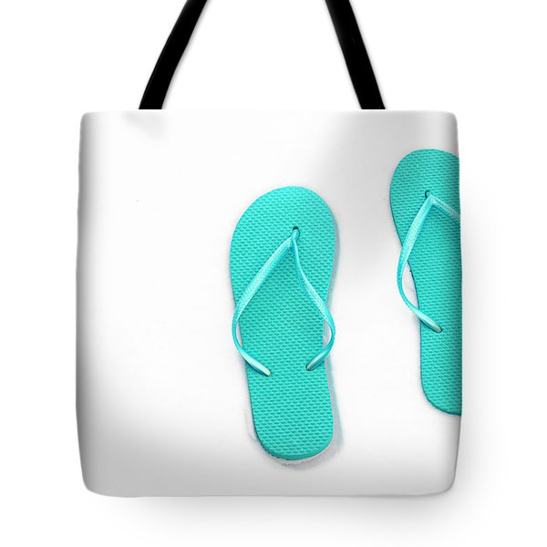 Where On Earth Is Spring - My Aqua Flip Flops Are Waiting Tote Bag by Andee Design