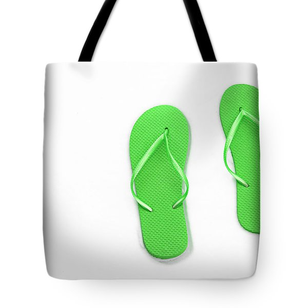 Where On Earth Is Spring - My Green Flip Flops Are Waiting Tote Bag by Andee Design