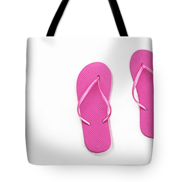 Where On Earth Is Spring - My Hot Pink Flip Flops Are Waiting Tote Bag by Andee Design