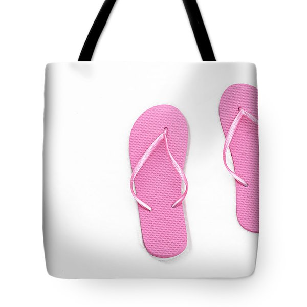 Where On Earth Is Spring - My Pink Flip Flops Are Waiting Tote Bag by Andee Design