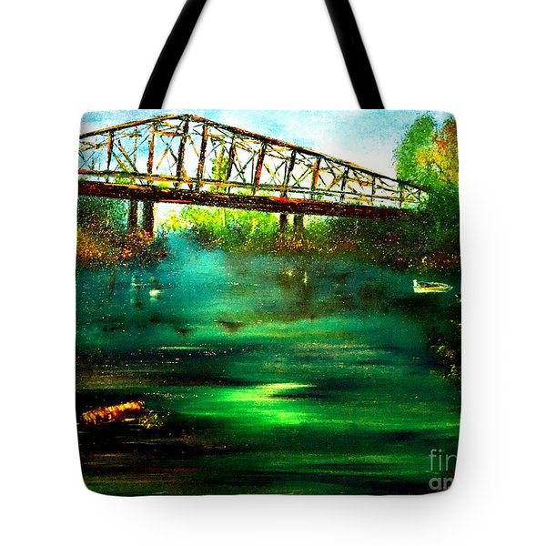 Tote Bag featuring the painting Where The Whistle Once Blew by Denise Tomasura