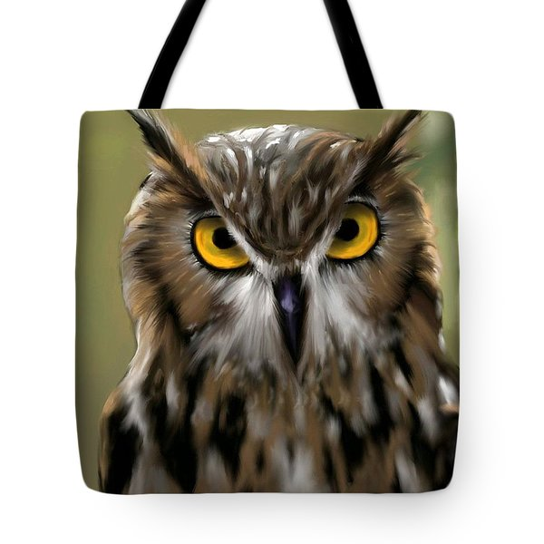 The Gaze Of An Owl - Where's My Dinner?  Tote Bag