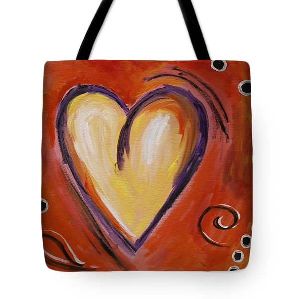 Whimsical  Abstract Art - With All My Heart Tote Bag by Karyn Robinson