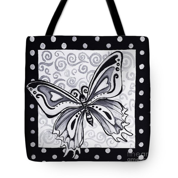 Whimsical Black And White Butterfly Original Painting Decorative Contemporary Art By Madart Studios Tote Bag