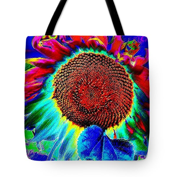 Whimsical Colorful Sunflower Tote Bag by Annie Zeno